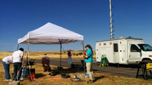 Setup on the airfield. Here the van with extended antenna.